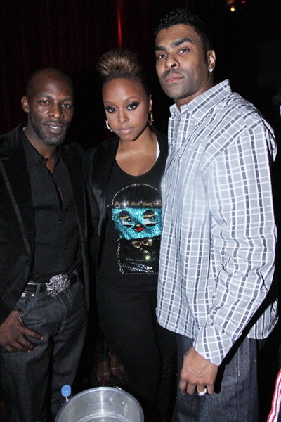"Joe, Chrisette Michele and Ginuwine attend Chrisette Michele's ""Epiphany"" album release party at M2 Ultra Lounge on May 12, 2009 in New York City."